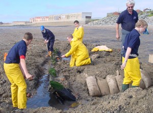 HLF project to provide a group of Hartlepool Sea Cadets with a range of archaeological skills - scuba-diving, documentary, web-based research and excavation on a small wooden wreck lying on Middleton Strand, Hartlepool (permission: Nautical Archaeology Society North-East